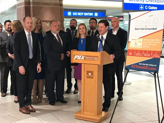 Arizona Gov. Doug Ducey and Phoenix Mayor Kate Gallego urge Arizonans to make appointments early to get a Travel ID.