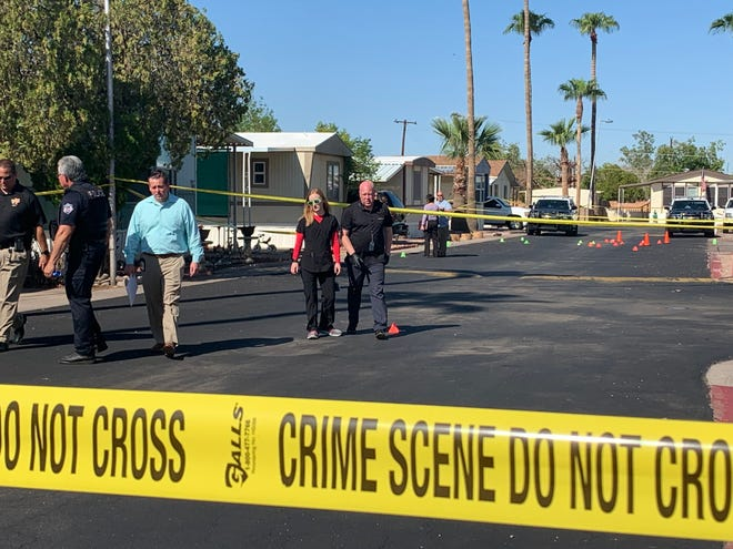 Mesa police are investigating the death of a woman and her 10-year-old son at their mobile home near East McKellips Road and North Wintercove Drive on Thursday, Aug. 29, 2019.