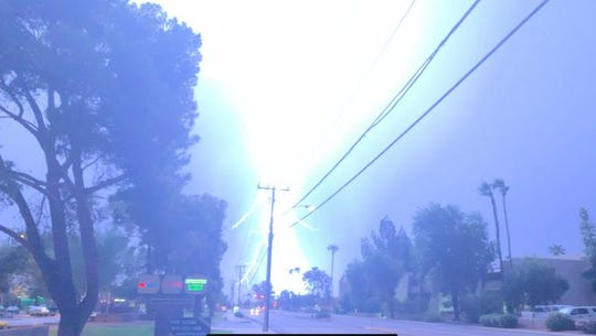 This photo of a lightning strike near Miller and Camelback roads in Scottsdale on Wednesday night, Aug. 28, 2019, was posted by A to Z Retail on Twitter.