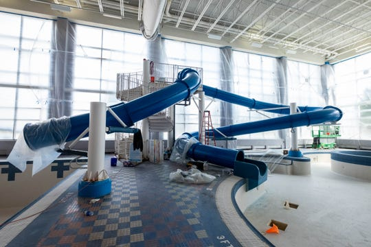 The waterslide in the YMCA of the Blue Water Area is being reconditioned as part of renovations.