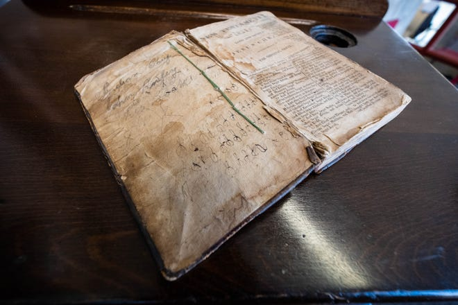 """The Port Huron Museum has acquired John Riley's New Testament. The book has """"Indian Chief, John Riley, His Book,"""" inscribed on the inside cover, and is said to be from 1820."""