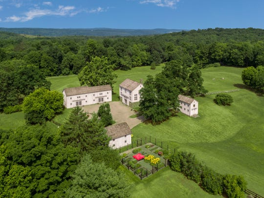 An aerial view of Four Barns Farm in Millbrook, the former estate of the late composer and conductor Marvin Hamlisch, which is on the market for $7.9 million.