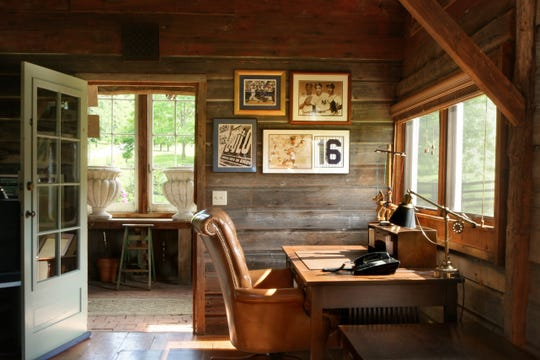 The desk which was used by the late composer and conductor Marvin Hamlisch is featured in one of the renovated barns at Four Barns Farm in Millbrook.