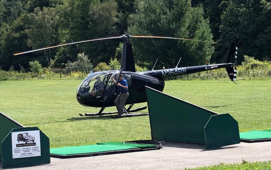 Marc Molinaro arrived via helicopter at the Schoharie County Republican Party's annual summer fundraiser in East Cobleskill; Aug. 25, 2019.