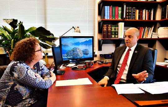 York County District Attorney Dave Sunday, discusses community issues with York Dispatch senior crime reporter Liz Evans Scolforo during a Facebook LIVE interview at the York County Judicial Center in York City, Thursday, Aug. 29, 2019.Thursday, Aug. 29, 2019. Dawn J. Sagert photo