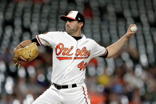 Baltimore Orioles relief pitcher Richard Bleier throws a pitch to a Kansas City Royals batter during the seventh/eight inning of a baseball game, Wednesday, Aug. 21, 2019, in Baltimore. The Orioles won 8-1. (AP Photo/Julio Cortez)