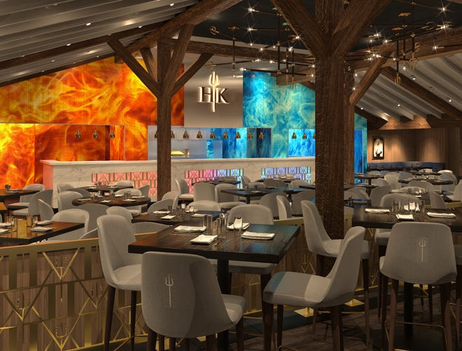 At Harveys Lake Tahoe, Hell's Kitchen restaurant from celebrated chef Gordon Ramsay, shown here in rendering, retains the brawny beams from the Sage Room restaurant that vacated the space.