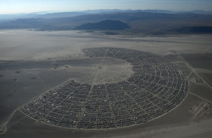 Burning Man is seen from the air during a flight over the Black Rock Desert on Aug. 29, 2019.