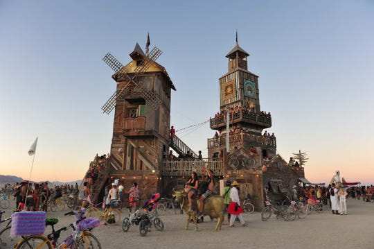 Images of people on the playa during Burning Man 2019.