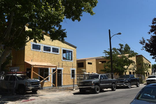 Construction of Haskell Row is seen in Midtown Reno on Aug. 29, 2019.
