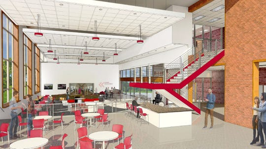 Rendering shows the common area in the proposed Golisano Community Engagement Center at Roberts Wesleyan College.