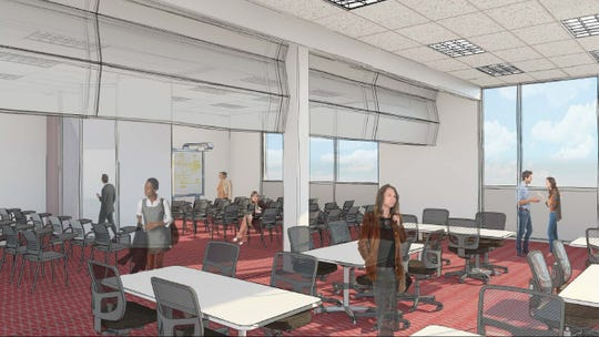Rendering shows the auditorium in the proposed Golisano Community Engagement Center at Roberts Wesleyan College.