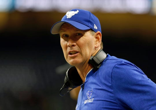 Lance Leipold, shown during the 2018 MAC Championship Game, led the Bulls to a 10-win season in 2018.