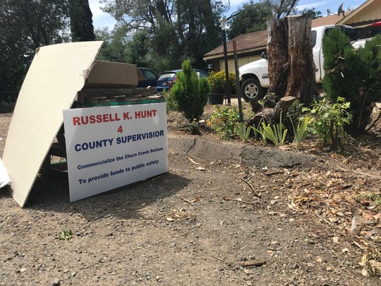 A sign in front of Russell Hunt's home in Redding shows that Hunt is running to become one of five county supervisors in 2020. His home is in District 2.