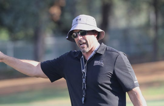 Shasta College head football coach Bryon Hamilton at a team practice on Aug. 28, 2019.