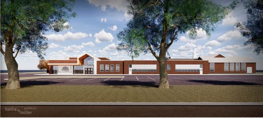 An artist rendering showing the side view of the new Sunshine Elementary.