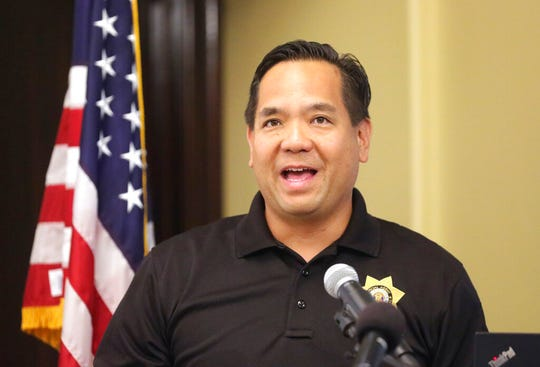 Utah Attorney General Sean Reyes speaks during a news conference Thursday, Aug. 29, 2019, in Salt Lake City. Utah officials are unveiling a gun safety program aimed at preventing accidental shootings that will be optional for schools. The program was mandated three years ago by state lawmakers who have consistently rejected gun-control measures. Reyes said that the program avoids the politically sensitive issues of gun policy and instead addresses the reality that an estimated four in 10 households in the state have a gun. (AP Photo/Rick Bowmer)