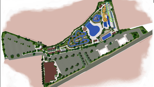 "An artist's illustration shows the overhead plan for the ""Splash City Adventure Park,"" which developers said they plan to start building next week, with goals to open for the summer of 2020."