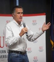 Sen. Mitt Romney meets with students at Southern Utah University Wednesday, Aug. 28, 2019.