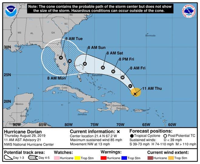 The latest forecast track for Hurricane Dorian.