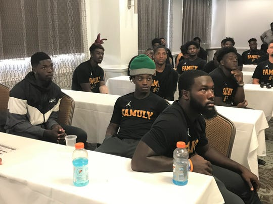 FAMU players gather for a meeting inside a conference room at the Holiday Inn East - UCF Area on Thursday, Aug. 29, 2019. The Rattlers open the season against the Knights.