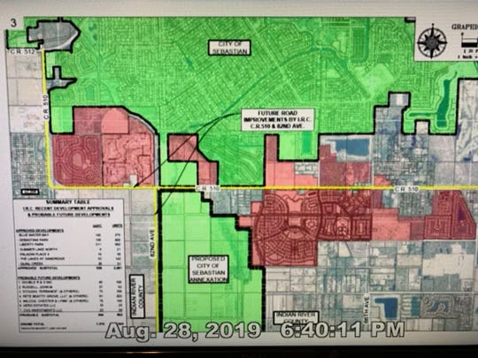 This screen shot from Sebastian City Council's meeting Aug. 28, 2019, shows existing land in the city of Sebastian (green), the proposed annexation south of County Road 510 (green) and land Indian River County has approved for development (red).