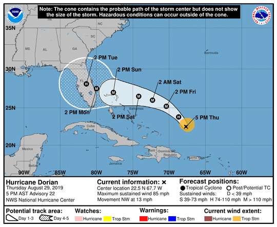 The projected track for Hurricane Dorian at 5 p.m. Thursday, Aug. 29.