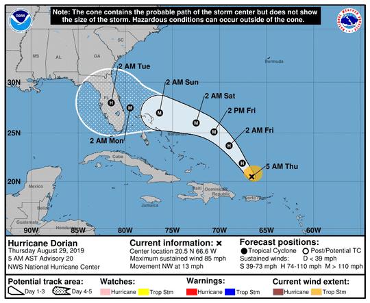 Hurricane Dorian 5 a.m. Aug. 29, 2019