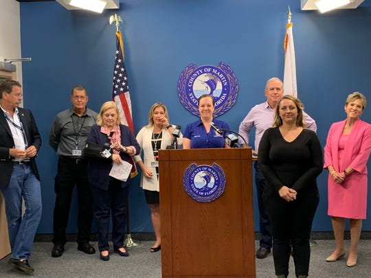 Martin County officials brief the media ahead of Hurricane Dorian at the Martin County Emergency Operation Center, in Stuart, Aug. 29, 2019