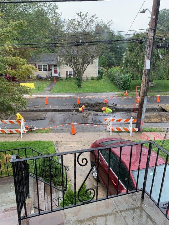 Construction on Christy Bracken's street in Harrison on Wednesday, Aug. 28.