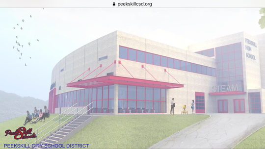 A rendering of the proposed STEAM innovation center at Peekskill High School by Mosaic Associates, one of the projects that will come before city voters in October.