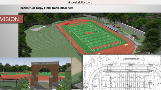 A rendering of a proposed new turf field facility at Torpy Field, one of the projects that came before city voters in October.