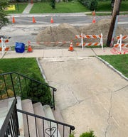 Construction blocking a Harrison woman from leaving her house on Tuesday, Aug. 27.