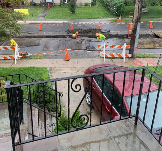 View from Christy Bracken's house Thursday, Aug. 29, 2019. Construction has blocked her driveway for days.