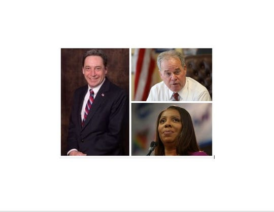 A Rockland Republican Party Facebook video condemned as anti-Semitic by some brought comments from, clockwise from left: Rockland Republican Chairman Lawrence Garvey, Rockland County Executive Ed Day and state Attorney General Letitia James.