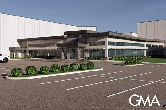 A rendering of the entrance to Dot Foods' new distribution center in Bear. The center is expected to be completed in February.