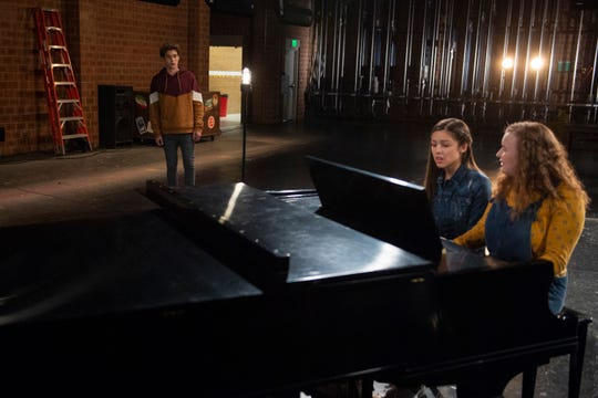 """Joshua Bassett, Olivia Rodrigo and Julia Lester in this exclusive photo from Disney+'s """"High School Musical: The Musical: The Series."""""""