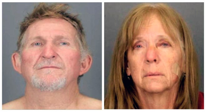 These undated combination booking photos provided by the Tucson Police Department show 56-year-old Blake Barksdale, left, and his 59-year-old wife Susan Barksdale.