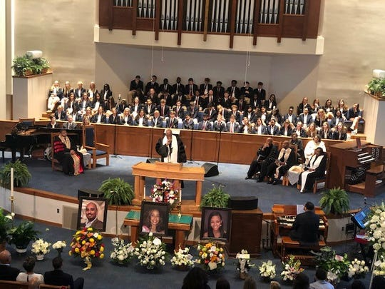 The funeral for Marsha Edwards, Erin Edwards and Christopher Edwards Jr. was held Aug. 28, 2019 in Atlanta.