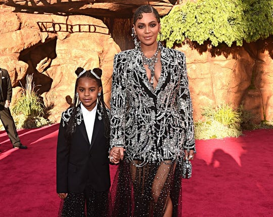"""Blue Ivy and Beyonce coordinated at the 2019 premiere of """"The Lion King"""" in Hollywood, Calif."""