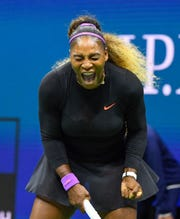 Serena Williams celebrates a winner against Caty McNally in their second-round match.