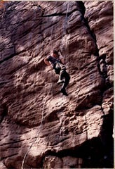 Barrett, then Cadet Barrett, rappels with other MIT Army ROTC cadet colleagues somewhere in Western Mass. sometime in the late 1980's.