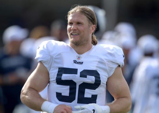 Los Angeles Rams linebacker Clay Matthews (52) during training camp at UC Irvine.