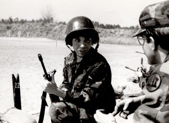 Maj. Gen. Maria Barrett, then Cadet Barrett, receives guidance from an instructor at the M16 range, during training, Fort Devens, Mass. sometime in the late 1980s.