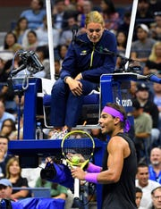 Rafael Nadal took issue with chair umpire Louise Engzell for warning him about slow play while he was waiting for US Open fans to take their seats.