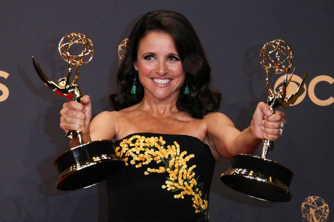 """Julia Louis-Dreyfus, seen here holding outstanding-actress and comedy-series Emmys for """"Veep"""" in 2017, is a leading contender again this year for the final season of the HBO comedy."""