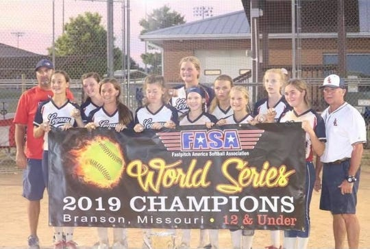 The Louisiana Legacy softball team has won 15 tournaments in four years. From left are: Coach Joey Wills of Hicks, Mallory Wills of Moss Bluff, Emorie Fontenot of South Beauregard, Adabelle Curtis of University Academy, Maddy Thompson of Pitkin, Christian Lambert of Tioga, Abby Robinson of Pitkin, Bralyn McCain of Moss Bluff, Carolina Edison of Moss Bluff, Landon Wells of Glenmora,  Sydney St. Pe' of Buckeye and Coach Chris Robinson of Pitkin.