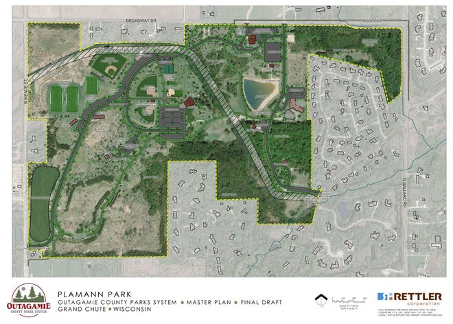 Outagamie County's proposed map for the sewer and water lines running through Plamann Park