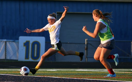 The Toms River North girls soccer team runs a drill in Toms River, Thursday, Aug. 29.