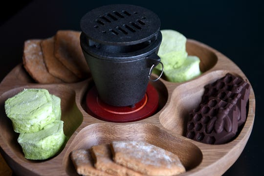 A take on s'mores is a dessert available at RosaBees in the River Arts District and come with house-made chocolates, house graham crackers and  tropical-themed marshmallows, including a green matcha.